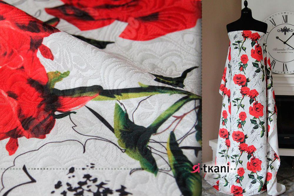 цветочный принт, купить ткань розы, ткань для пиджака