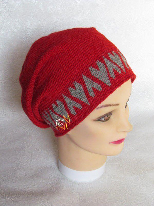 шапка вязаная, шапка крючком, подарок, ручная работа, женская шапка, аксессуары, головной убор, красный, сердечки, сердце, олесясухомлинова, lissafox, handmade