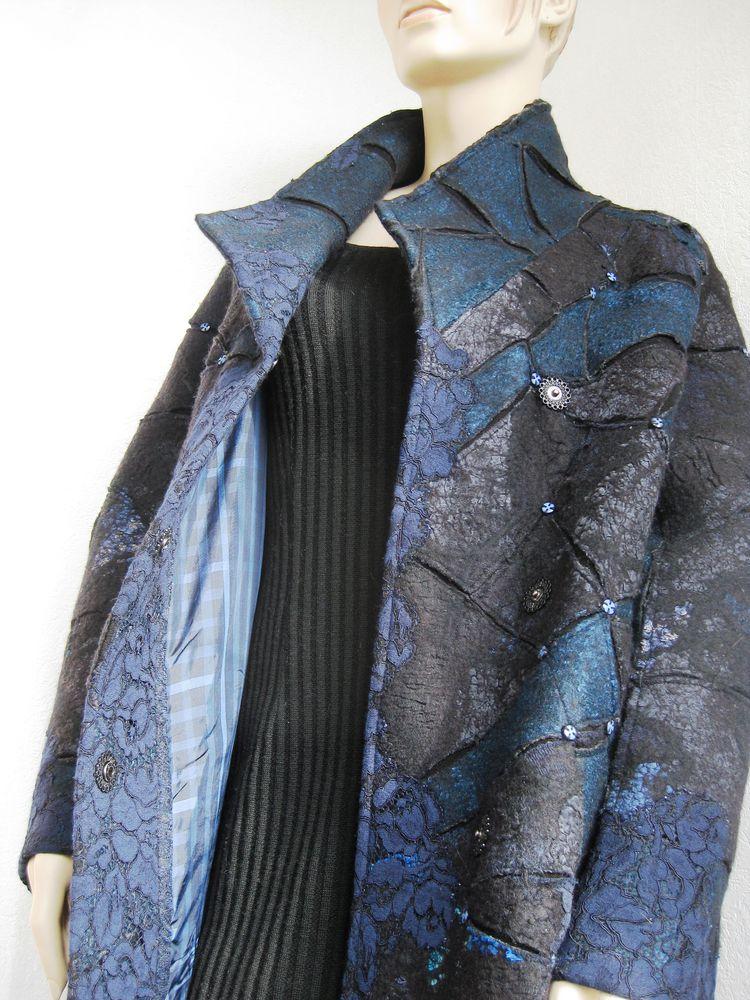 авторское пальто, синий с черным, гипюр