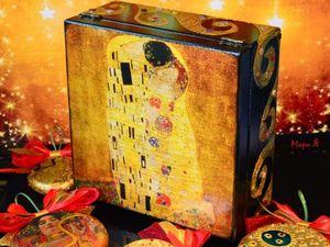 Набор новогодних игрушек в шкатулке в в стиле Климта. Ярмарка Мастеров - ручная работа, handmade.