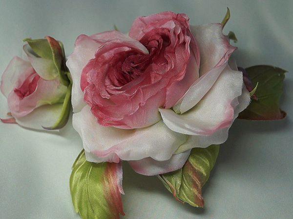 Брошь  rose Verona  (японский шелк)   Ярмарка Мастеров - ручная работа, handmade