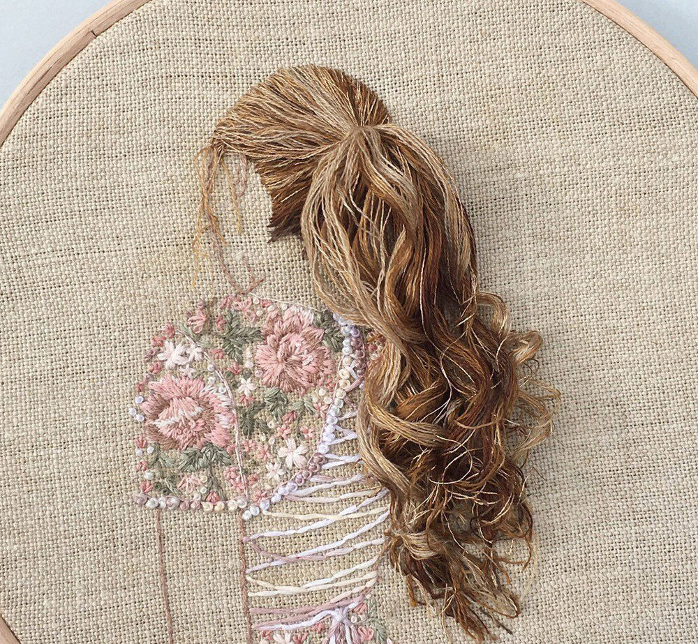 Embroidery Hair Style Damask Stich Embroidered Girls With