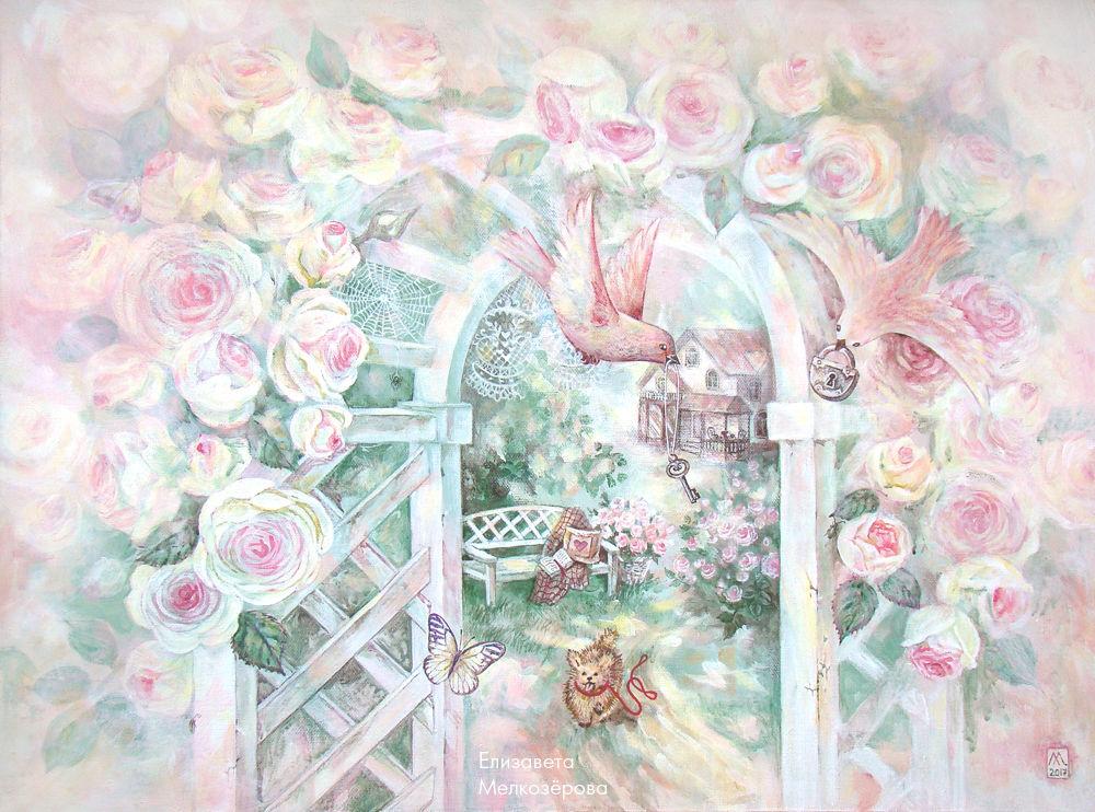 картина живопись пейзаж, прованс прованский, холст краски акрил
