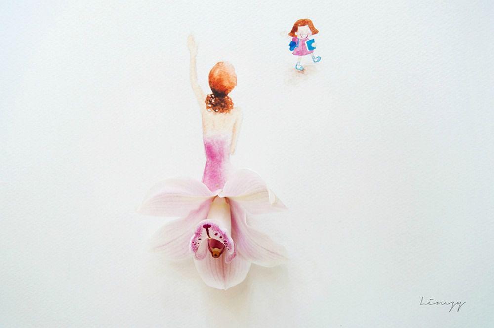 акварельная живопись, мама и малыш