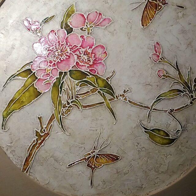панно на стену, роспись акрилом, цветущая вишня, подарок девушке, подарок девочке, карина на стену, для дома и интерьера