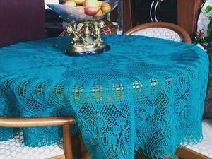 Придаем форму большой круглой вязаной скатерти. Ярмарка Мастеров - ручная работа, handmade.