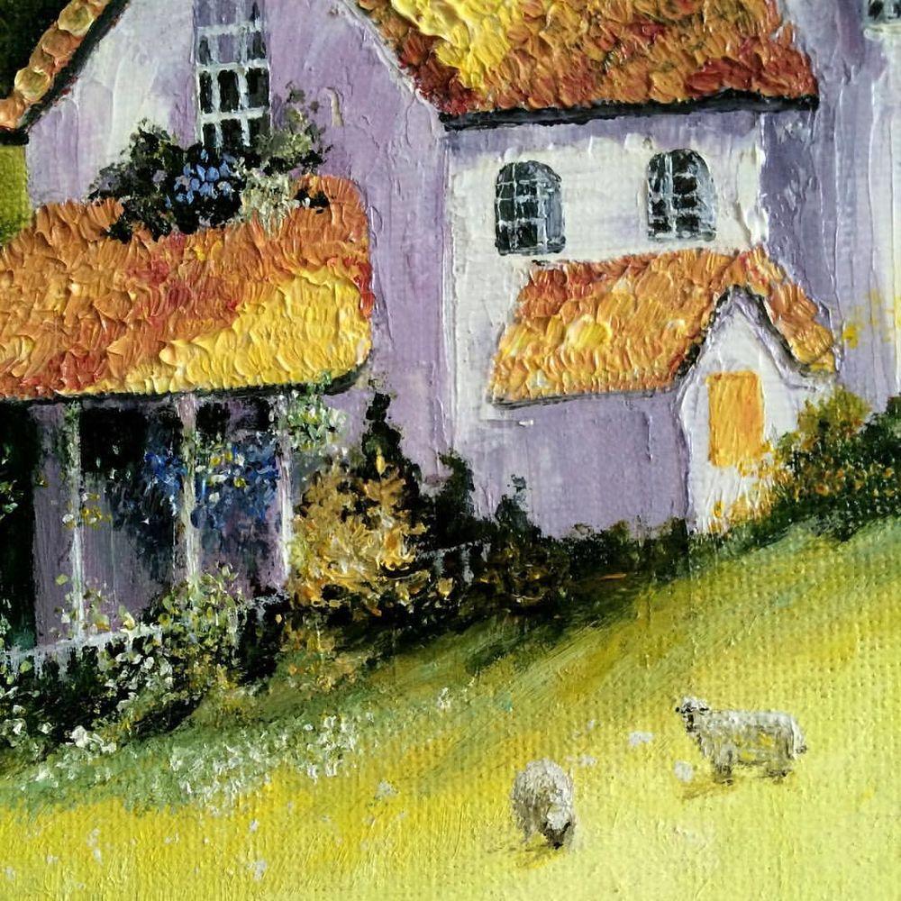 сказочные домики, дома, деревенский пейзаж, картина маслом