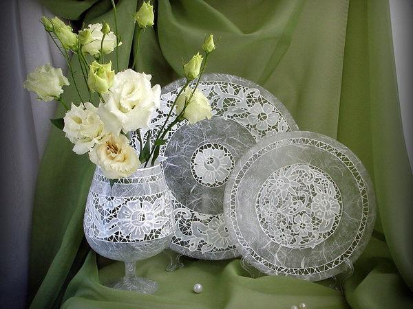 Создание воздушной тарелочки с имитацией вышивки Ришелье | Ярмарка Мастеров - ручная работа, handmade
