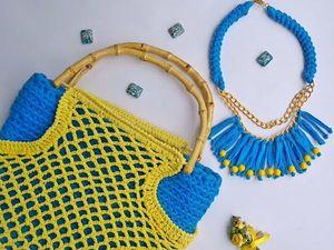 Новая вязаная сумка-авоська и украшение Море и солнце. Ярмарка Мастеров - ручная работа, handmade.