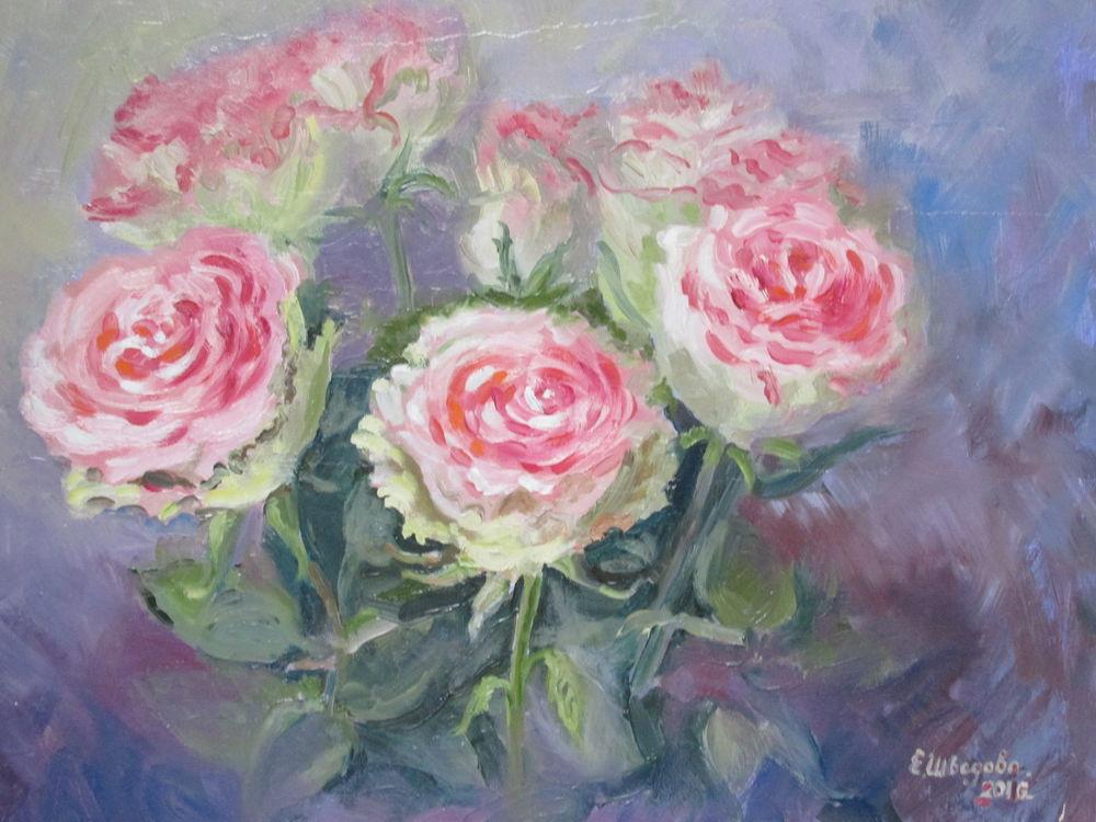 картина маслом, картина для интерьера, розы, розовый цвет, нежный, живопись маслом, авторская живопись, картина с цветами