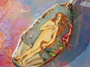 Кулон с росписью на камне Рождение Венеры Боттичелли лаковая миниатюра | Ярмарка Мастеров - ручная работа, handmade