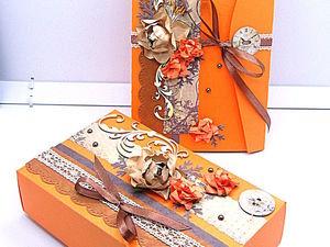 Декорируем открытку и подарочную коробочку «Оранжевое настроение». Ярмарка Мастеров - ручная работа, handmade.