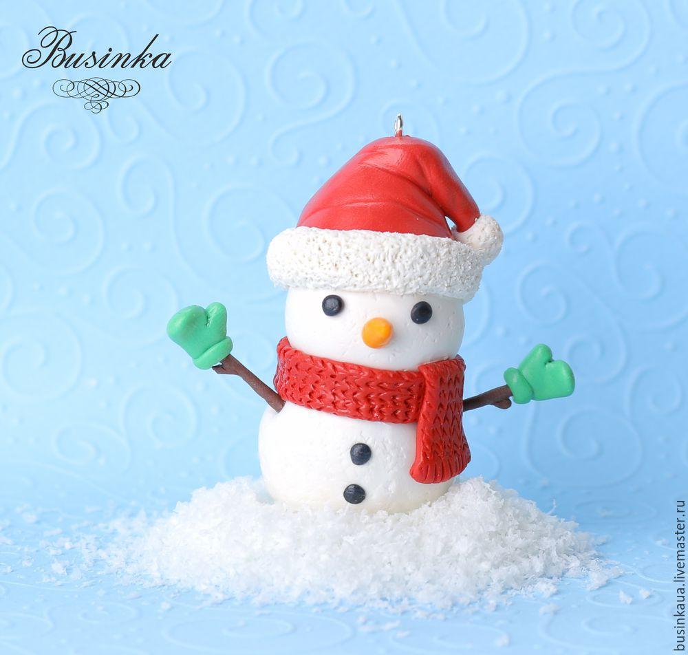 как сделать снеговика, снеговик из пластики, запекаемяя глина снеговик, как сделать игрушку, елочная игрушка, зимняя игрушка, снеговик мастер-класс, создание игрушек урок, рождественская игрушка, видеурок лепка снеговик