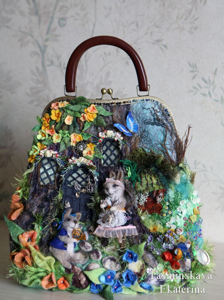 сумка, кролик, осень, пень