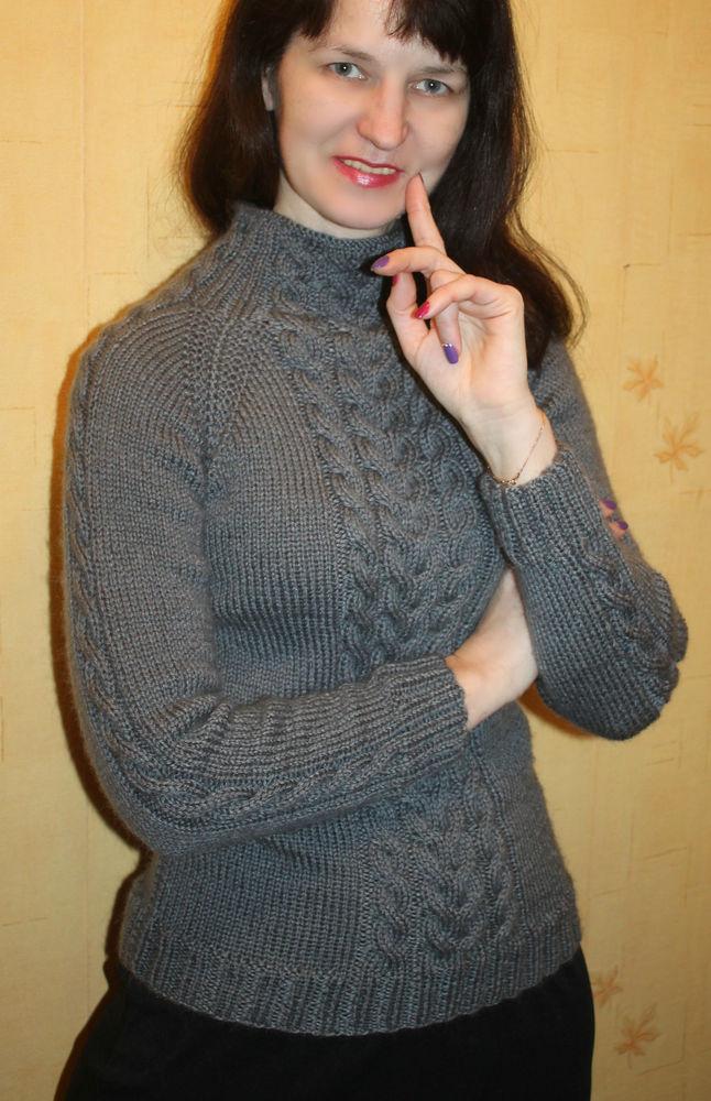 свитер вязаный, свитер женский, свитер теплый, свитер спицами, свитер с косами, свитер реглан, свитер серый, свитер с воротом
