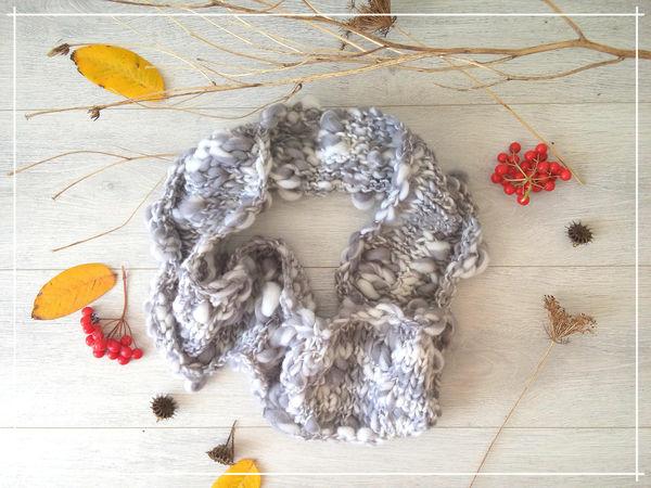 Вяжем снуд «Осеннее небо» из фактурной пряжи | Ярмарка Мастеров - ручная работа, handmade