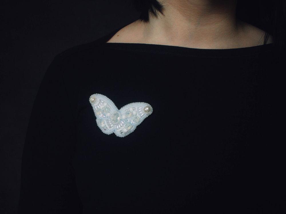 бабочка, брошь ручной работы