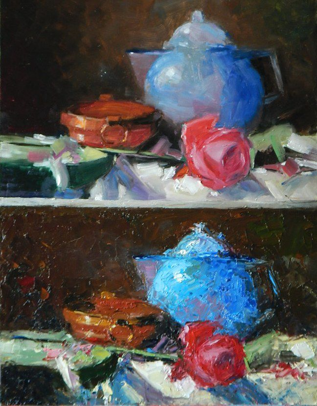 мастихин, чайник, роза, чашка, натюрморт