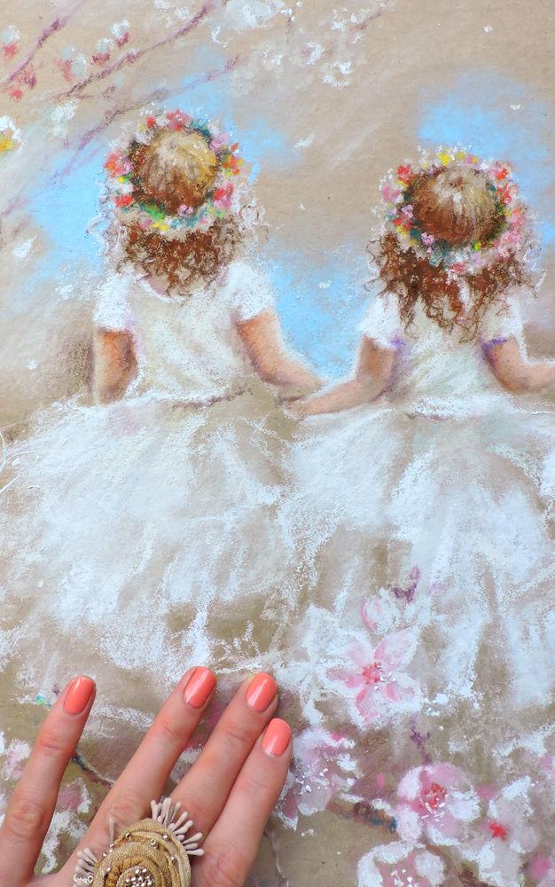картина пастелью, весна