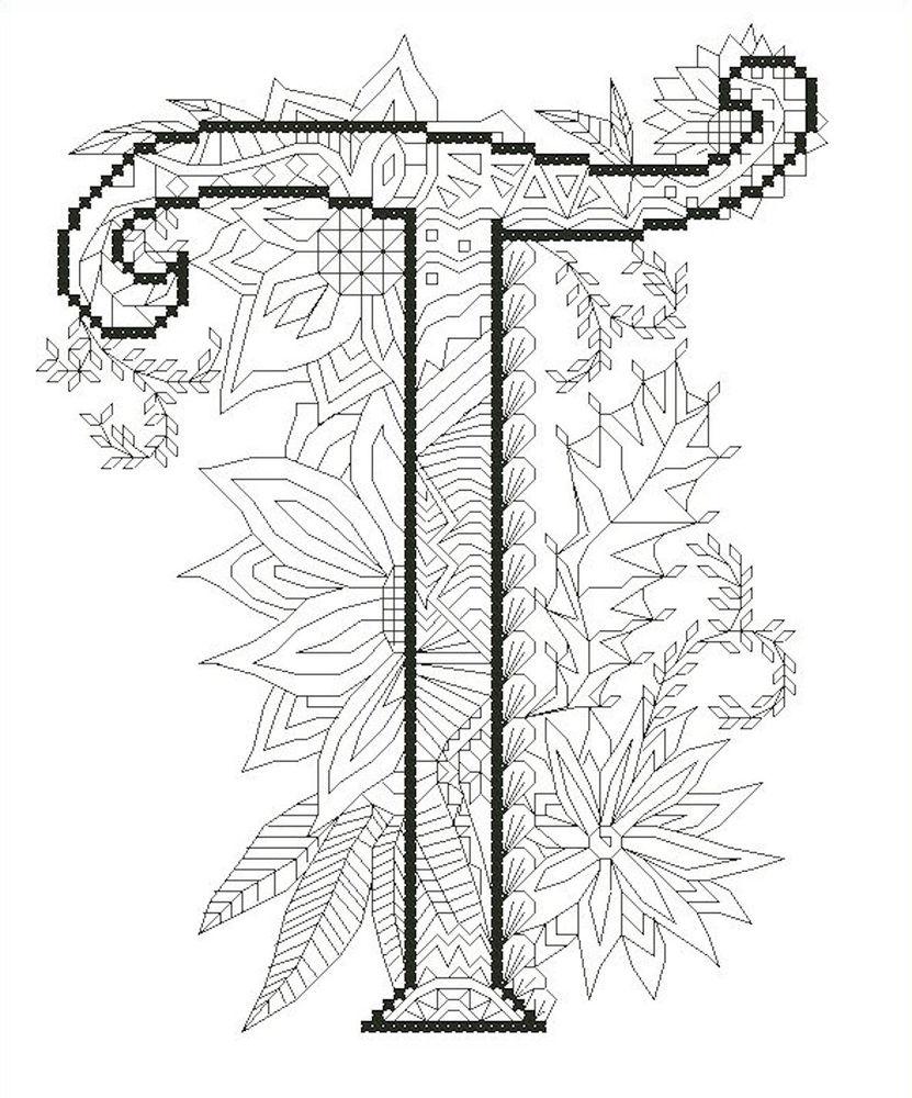 схема для вышивки крестом, литера, вышивка крестом
