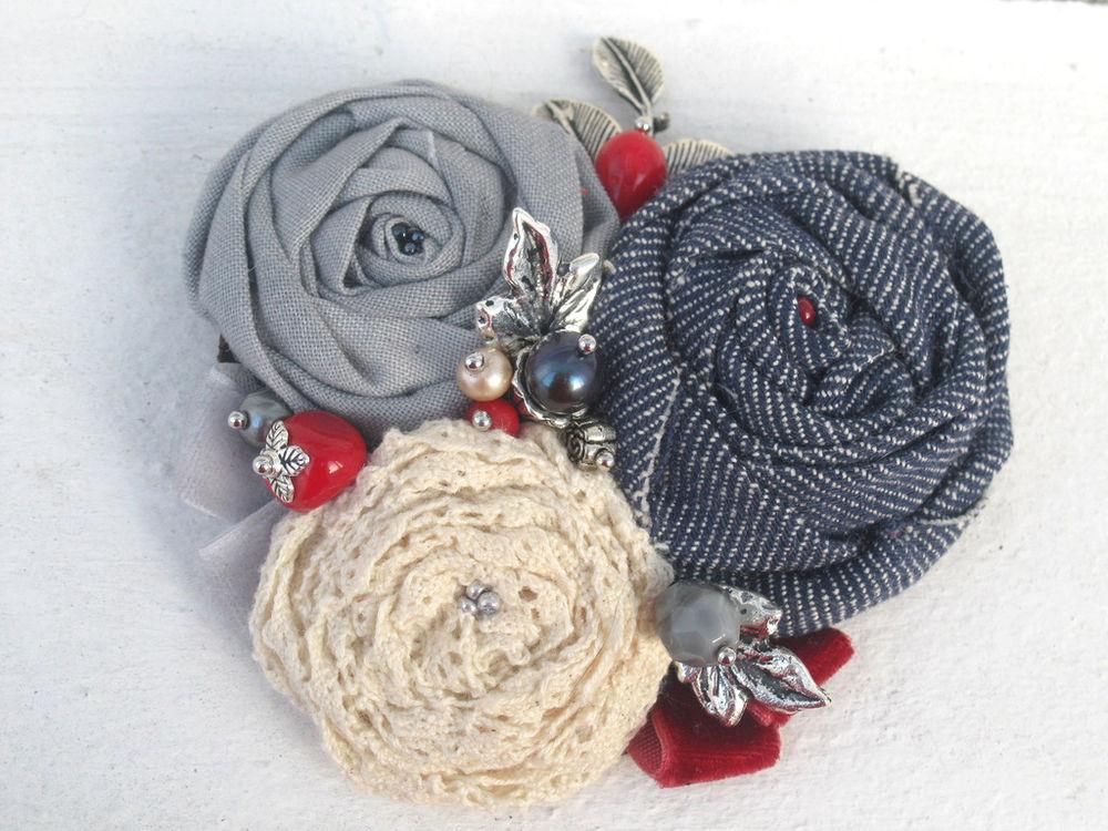 украшение из роз, колье ручной работы, брошь с цветами