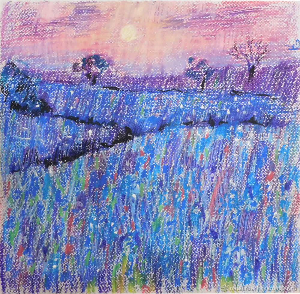 Drawing Flower Field with Oil Pastel, фото № 1