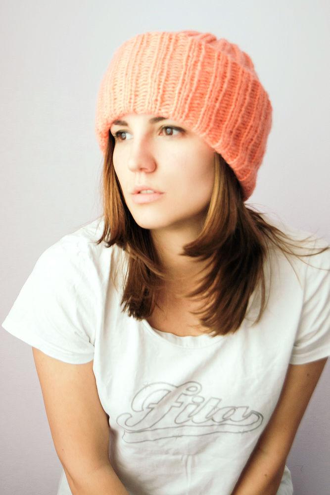 вязаная шапка, персиковый