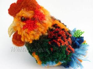 Мастерим Петуха из помпонов. Ярмарка Мастеров - ручная работа, handmade.