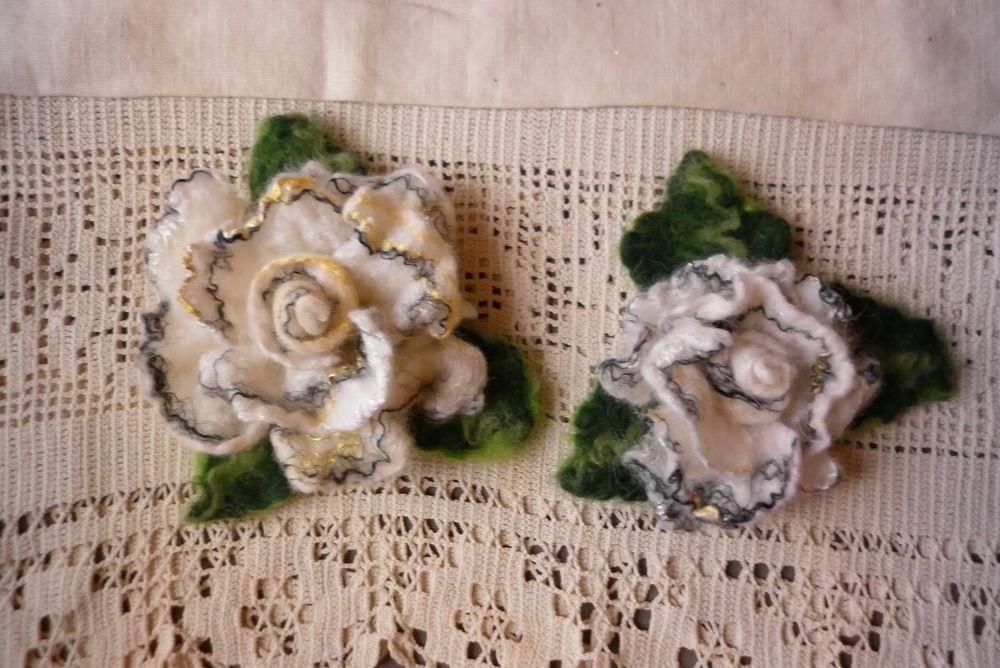 фиолетовая роза, валяные броши