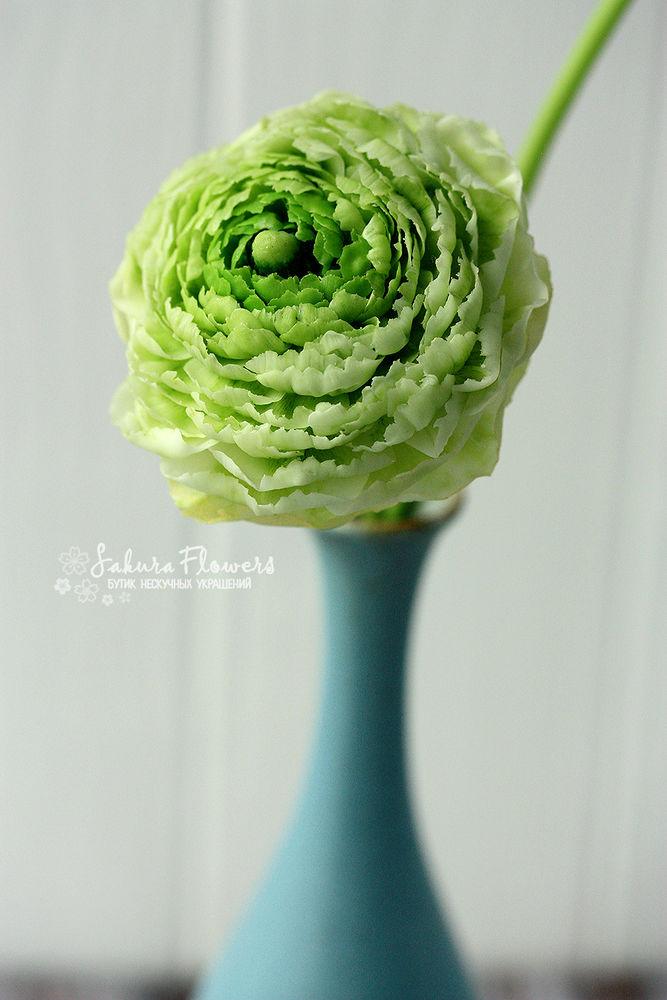 полимерная флористика, цветы ручной работы, зеленый