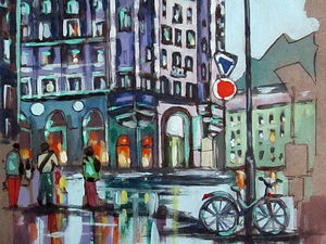 ГРАФИКА, Вечер в городе, формат А4, художник А. Шуберт. Ярмарка Мастеров - ручная работа, handmade.