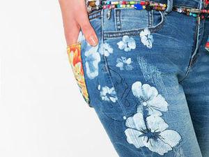 Разнообразный декор джинсов: вышивка, роспись, кружево. Ярмарка Мастеров - ручная работа, handmade.