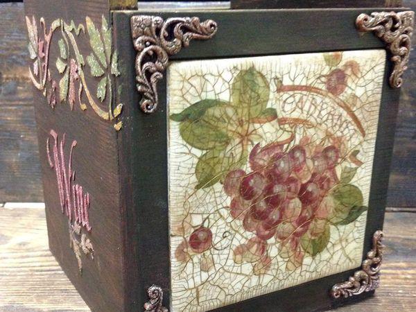 Короб-подставка для вина. Декупаж на плитке, рельефные узоры, старение   Ярмарка Мастеров - ручная работа, handmade
