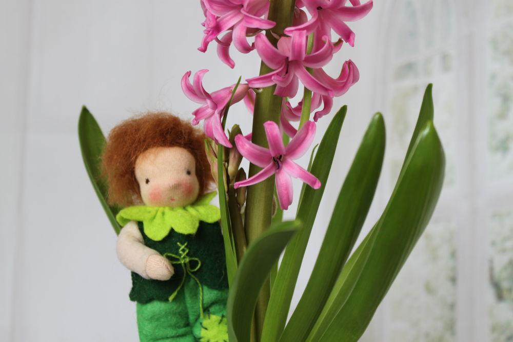 вальдорфская игрушка, мальчик, подарок на день рождения, интерьерная кукла, куколка, авторские куклы, зеленый