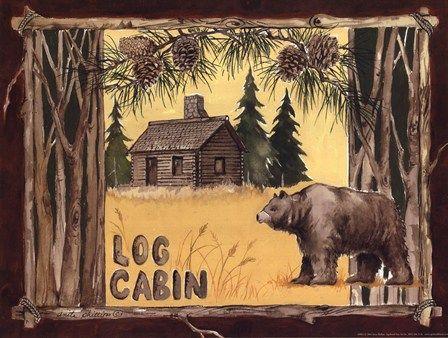 Log Cabin Bear by Anita Phillips art print   Bear Cabin Decor
