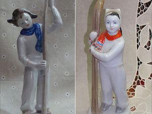 Антикварные, фарфоровые статуэтки. Лыжник и Лыжница. ЛФЗ. Ярмарка Мастеров - ручная работа, handmade.