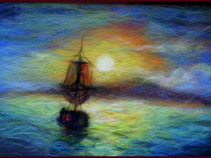 Шерстяные картины Мк- морской пейзаж. | Ярмарка Мастеров - ручная работа, handmade