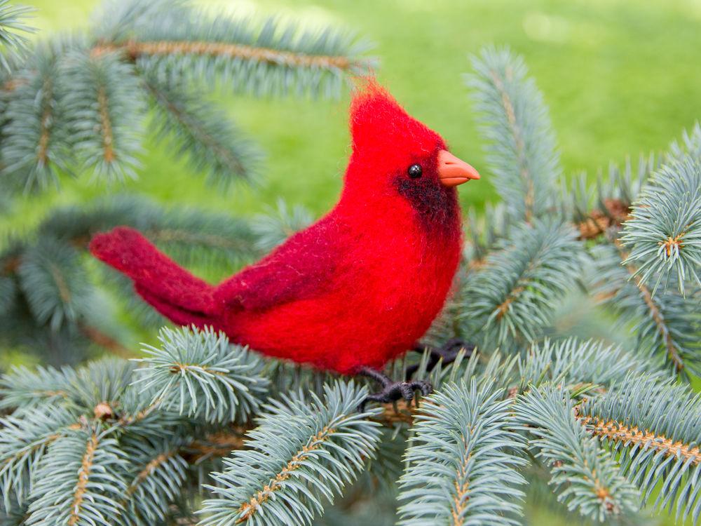 бугрова жанна, кардинал валяный, новый год