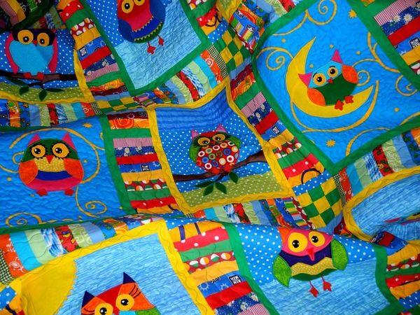 Одеяло детское пэчворк - СОВУШКИ - лоскутное шитье для детей. | Ярмарка Мастеров - ручная работа, handmade