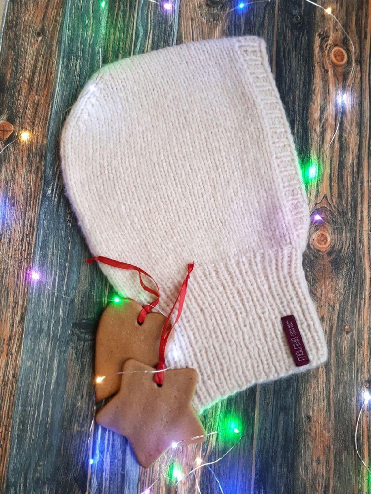 кпюшон вязаный, шапка зимня