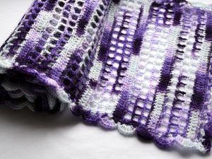 Вяжем крючком ажурный шарфик с простым узором. Ярмарка Мастеров - ручная работа, handmade.