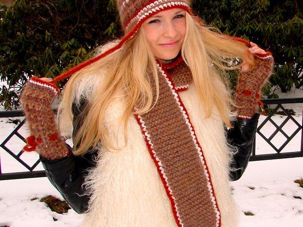 Акция!!! – скидка 70%  на комплект  «ЗЕНА» авторской ручной работы --- шапку женскую вязаную, шарф ,митенки ! | Ярмарка Мастеров - ручная работа, handmade
