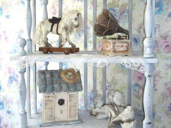 Этажерка в стиле шебби шик для кукольной мастерской | Ярмарка Мастеров - ручная работа, handmade