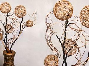 Как сделать декор для дома из веток и шаров из ниток. Ярмарка Мастеров - ручная работа, handmade.