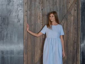 YOKU LOOK: нежно-голубое платье с завышенной талией. Ярмарка Мастеров - ручная работа, handmade.