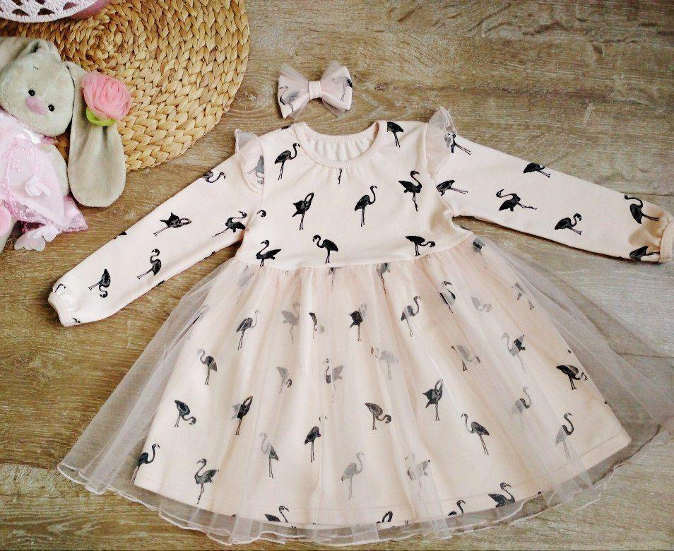 нарядное платье, польские ткани, польский трикотаж, для девочек, две сестры, персиковый, кремовый