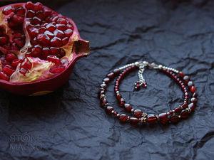 Новинка! Двухрядный браслет из граната и серебра | Ярмарка Мастеров - ручная работа, handmade