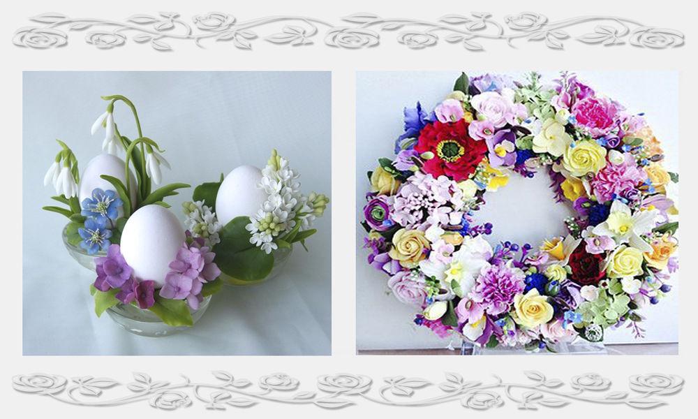 цветы из полимерной глины, украшения с цветами
