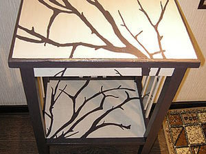 Decorating Old Furniture: Branches on a Bedside Table. Livemaster - handmade
