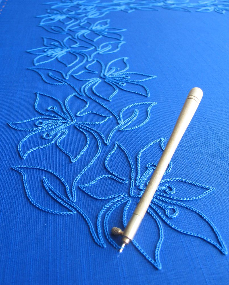 лазурно-синий, тамбурный шов, пехорка